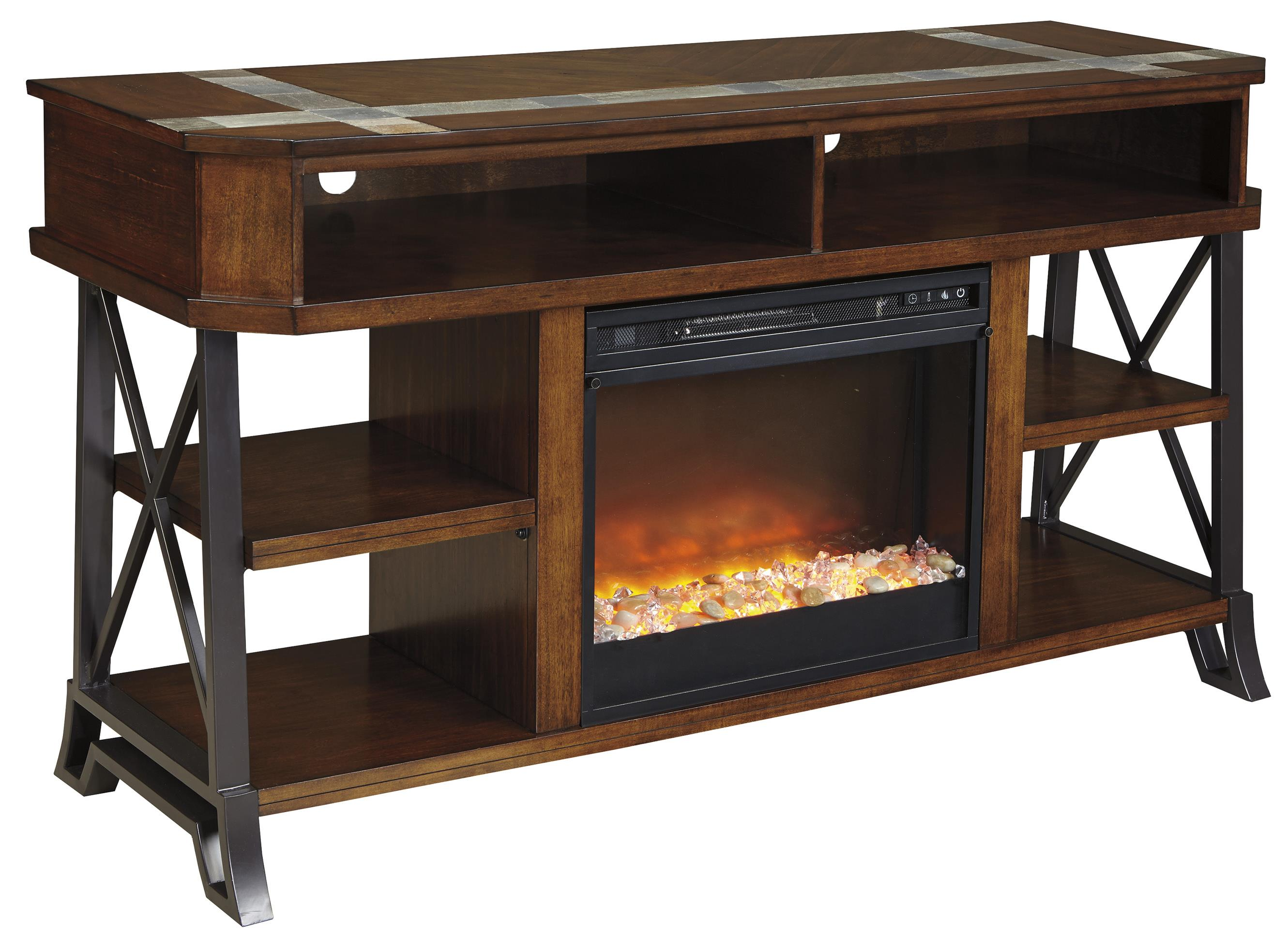 Signature Design by Ashley Vinasville TV Stand with Fireplace Insert - Item Number: W552-68+W100-02