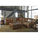 Signature Design by Ashley Vincenzo Square Leather Match Oversized Accent Ottoman