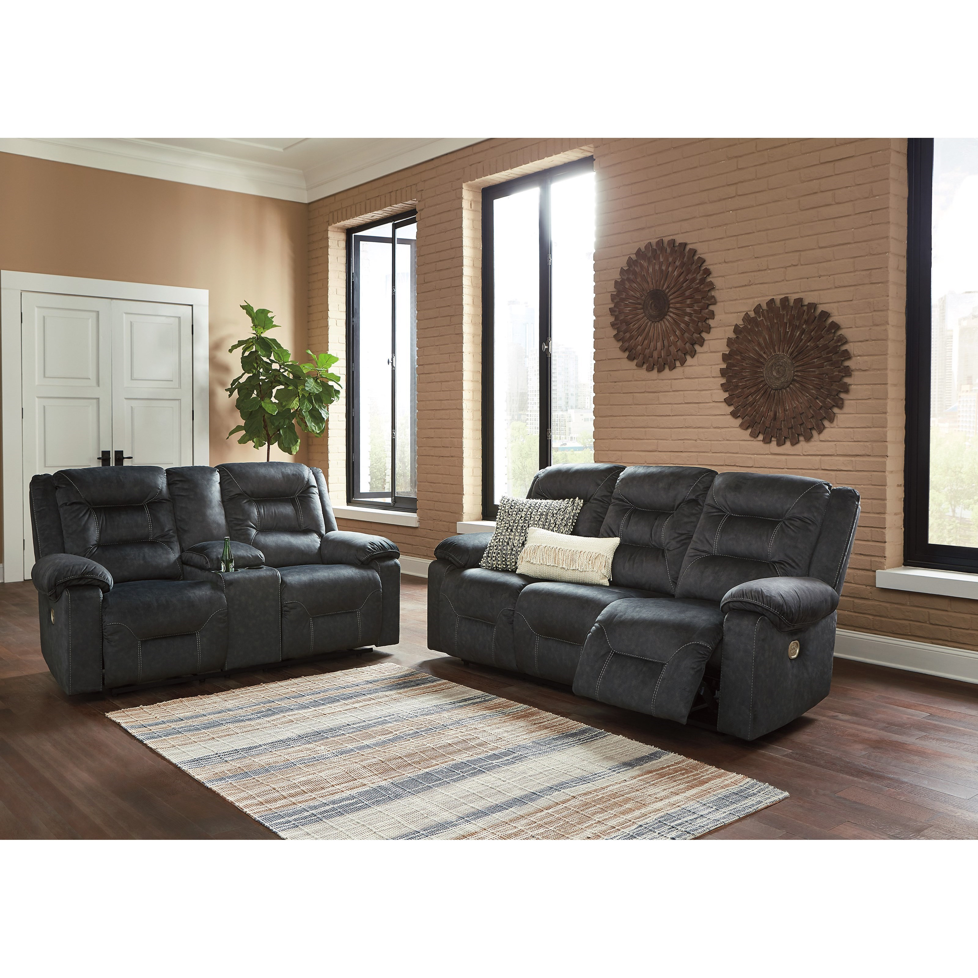 Signature Design by Ashley Waldheim Reclining Living Room Group - Item Number: 81502 Living Room Group 1