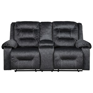 Signature Design by Ashley Waldheim Power Recl. Loveseat w/ Con. & Adj. Headrest