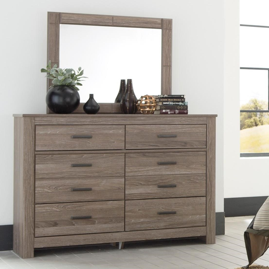 Signature Design By Ashley Waldrew 6 Drawer Dresser Bedroom Mirror In Gray Finish Olinde 39 S