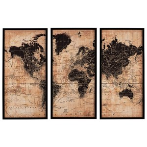 Pollyanna Tan/Black World Map Wall Art Set
