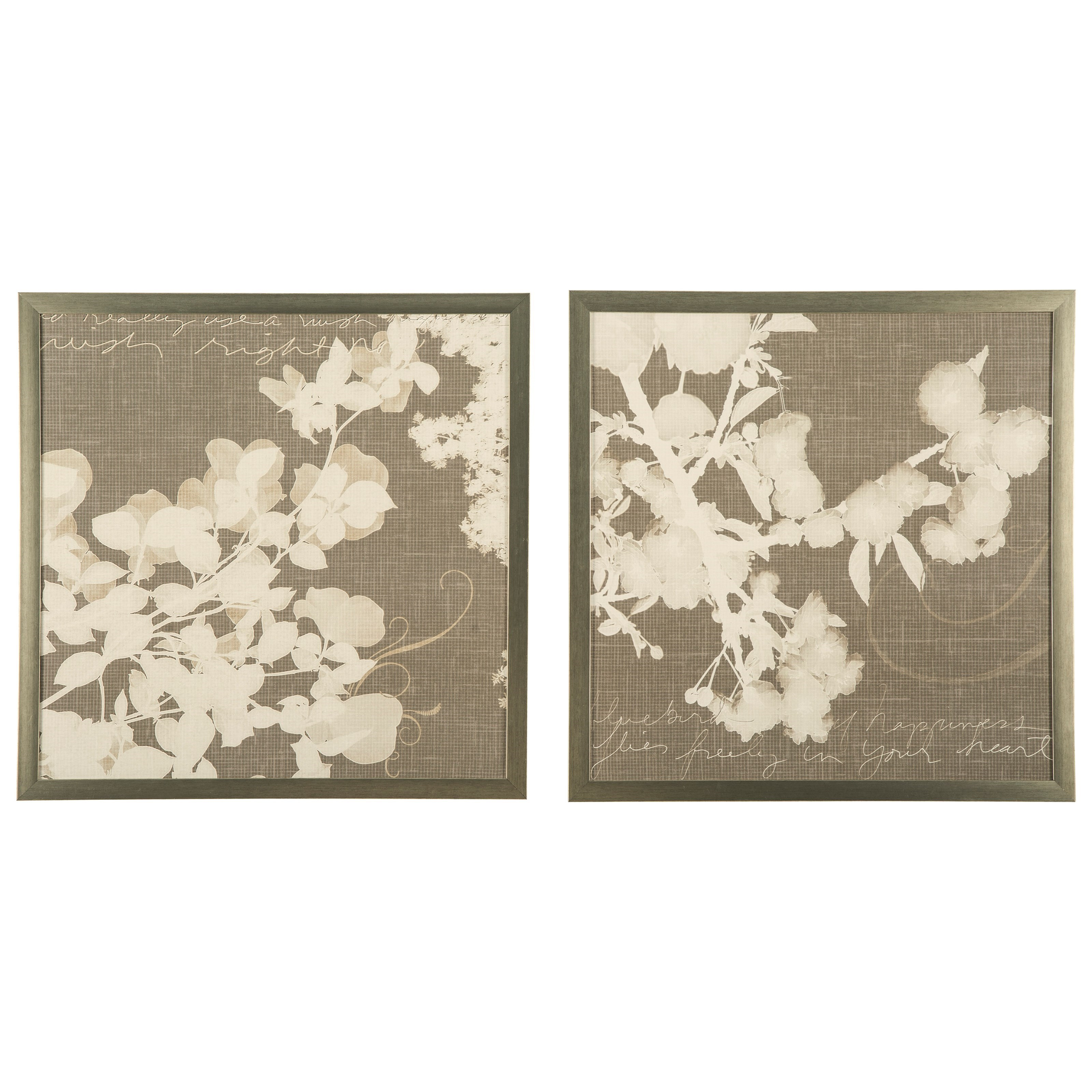 Signature Design by Ashley Wall Art Baibre Cream/Taupe Wall Art Set - Item Number: A8000134