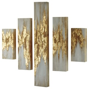 Devlan Gold Finish/White Wall Art Set
