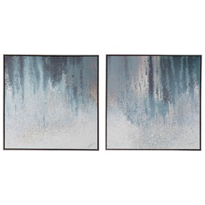 Signature Design by Ashley Wall Art 2-Piece Dyan Blue/White Wall Art Set