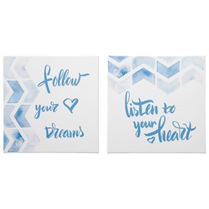 Signature Design by Ashley Wall Art Ellis Teal/White Wall Art Set