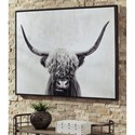 Signature Design by Ashley Wall Art Pancho Black/White Highland Cow Wall Art