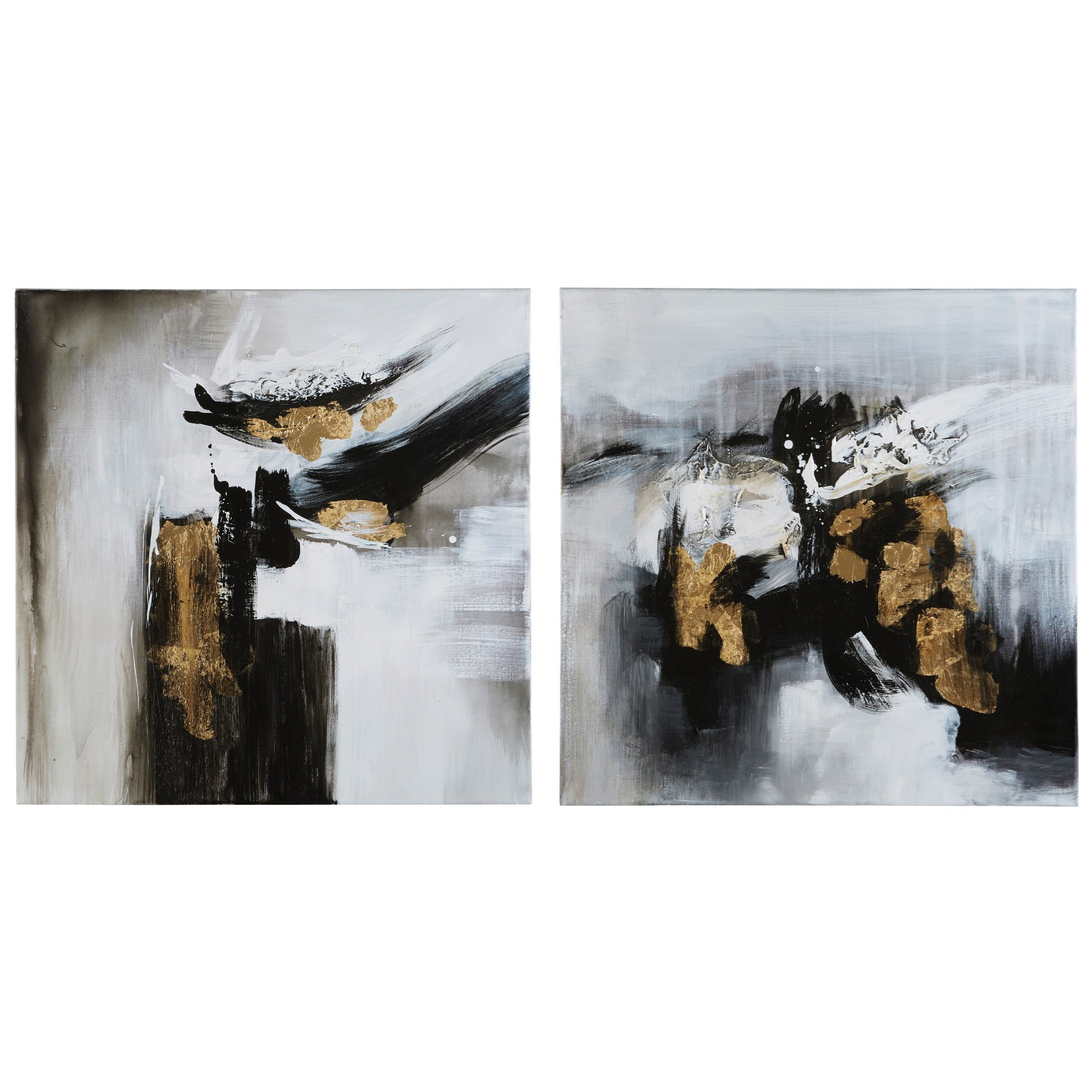 Jerrin Black/White/Gold Finish Wall Art Set