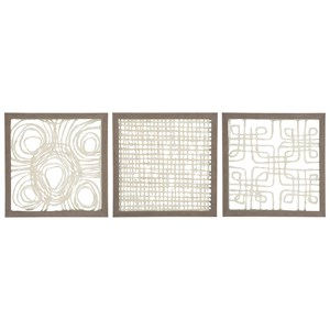 Ashley Signature Design Wall Art 3-Piece Odella Cream/Taupe Wall Decor Set