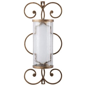 Ashley Signature Design Wall Art Oenone Antique Gold Finish Wall Sconce