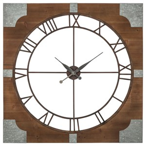 Ashley (Signature Design) Wall Art Palila Brown/Silver Finish Wall Clock