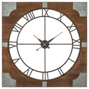 Signature Design by Ashley Wall Art Palila Brown/Silver Finish Wall Clock - Item Number: A8010072