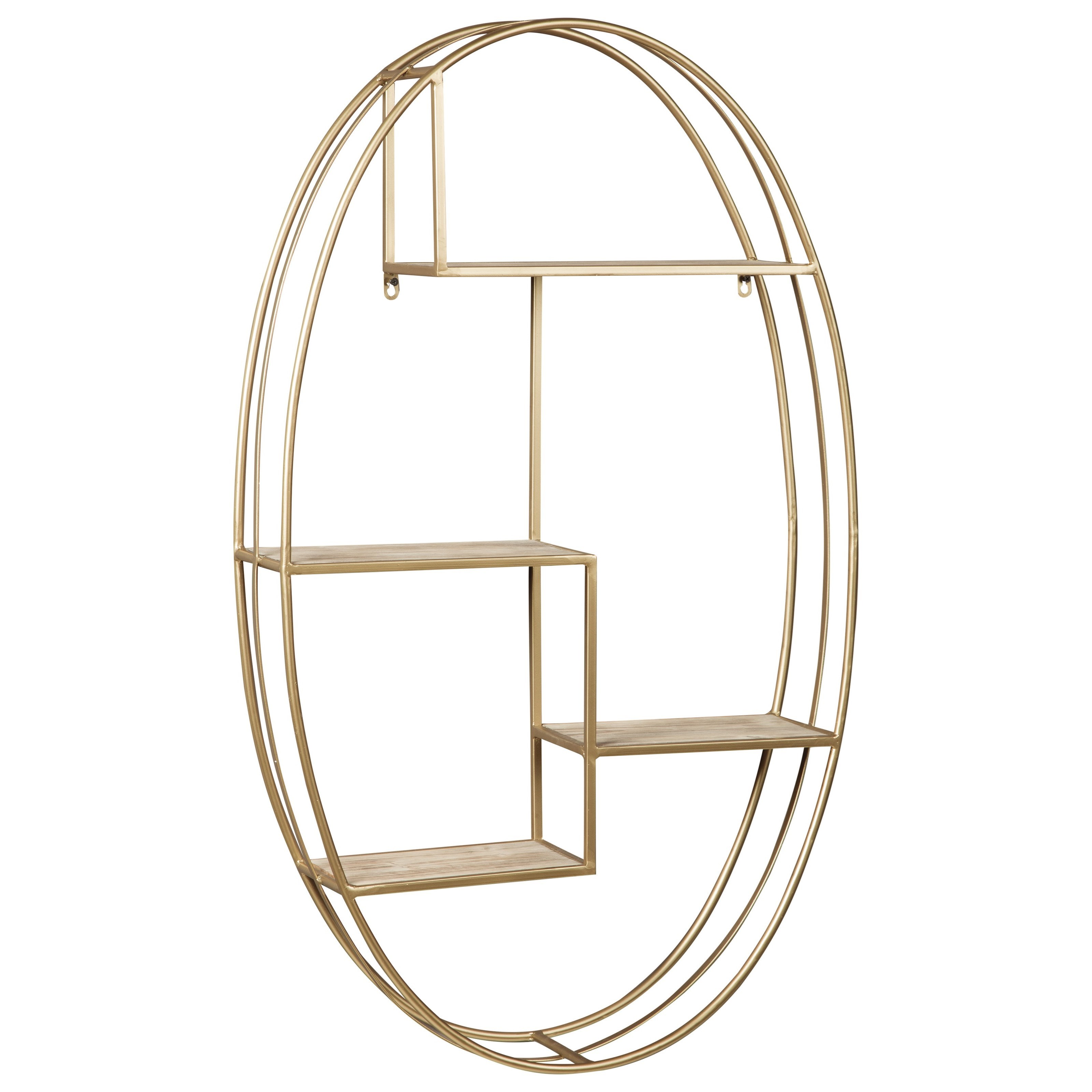 Signature Design by Ashley Wall Art Elettra Natural/Gold Finish Wall Shelf - Item Number: A8010106