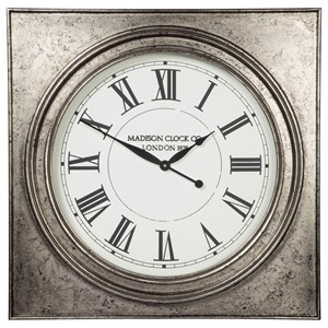 Ashley (Signature Design) Wall Art Pelham Antique Silver Finish Wall Clock