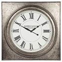 Signature Design by Ashley Wall Art Pelham Antique Silver Finish Wall Clock - Item Number: A8010132