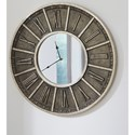 Signature Design by Ashley Wall Art Peer Champagne/Black Wall Clock with Mirror Face