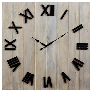 Farmhouse Bronson Whitewash/Black Wall Clock