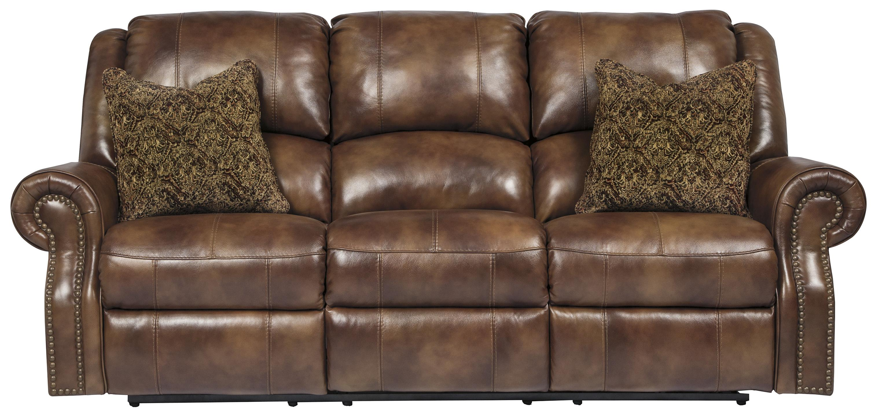 Signature Design By Ashley Walworth Leather Match Reclining Sofa With Nailhead Trim Olinde 39 S