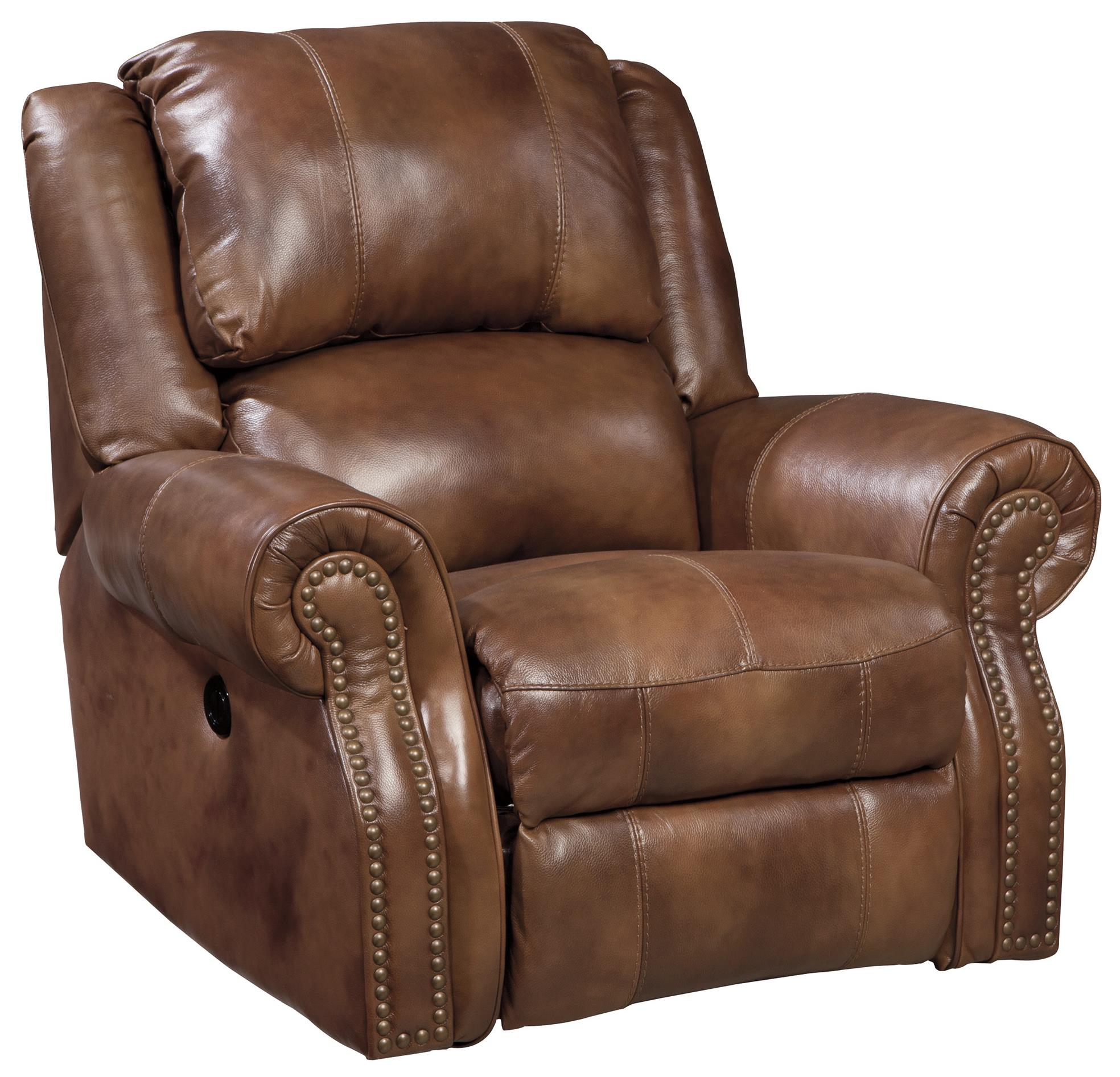 Signature Design By Ashley Walworth U7800198 Leather Match Power Rocker Recliner With Nailhead