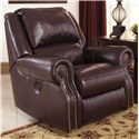 Signature Design by Ashley Walworth Leather Match Rocker Recliner with Nailhead Trim - Recliner Shown May Not Represent Exact Size Indicated