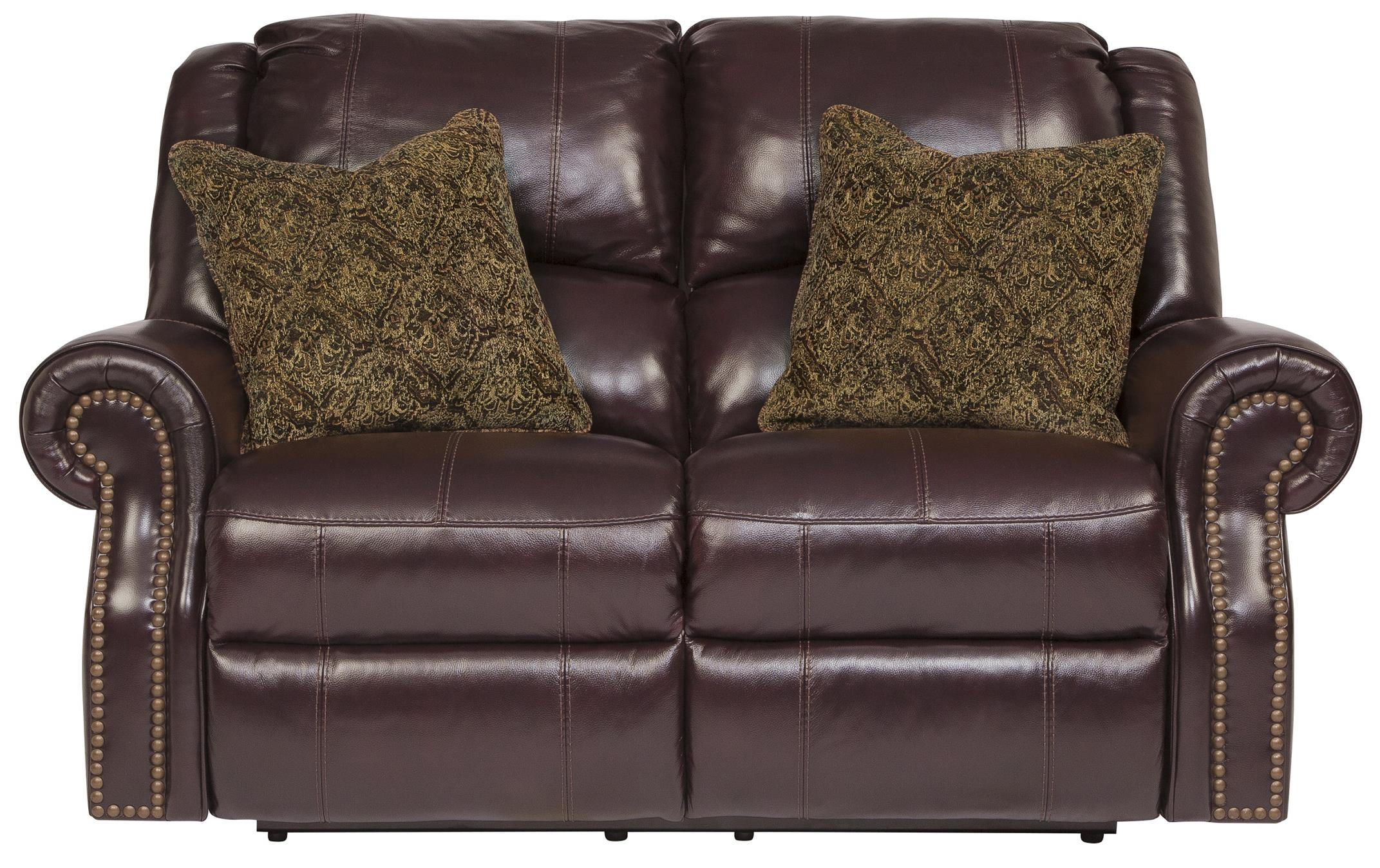 Signature Design By Ashley Walworth Leather Match Reclining Loveseat With Nailhead Trim