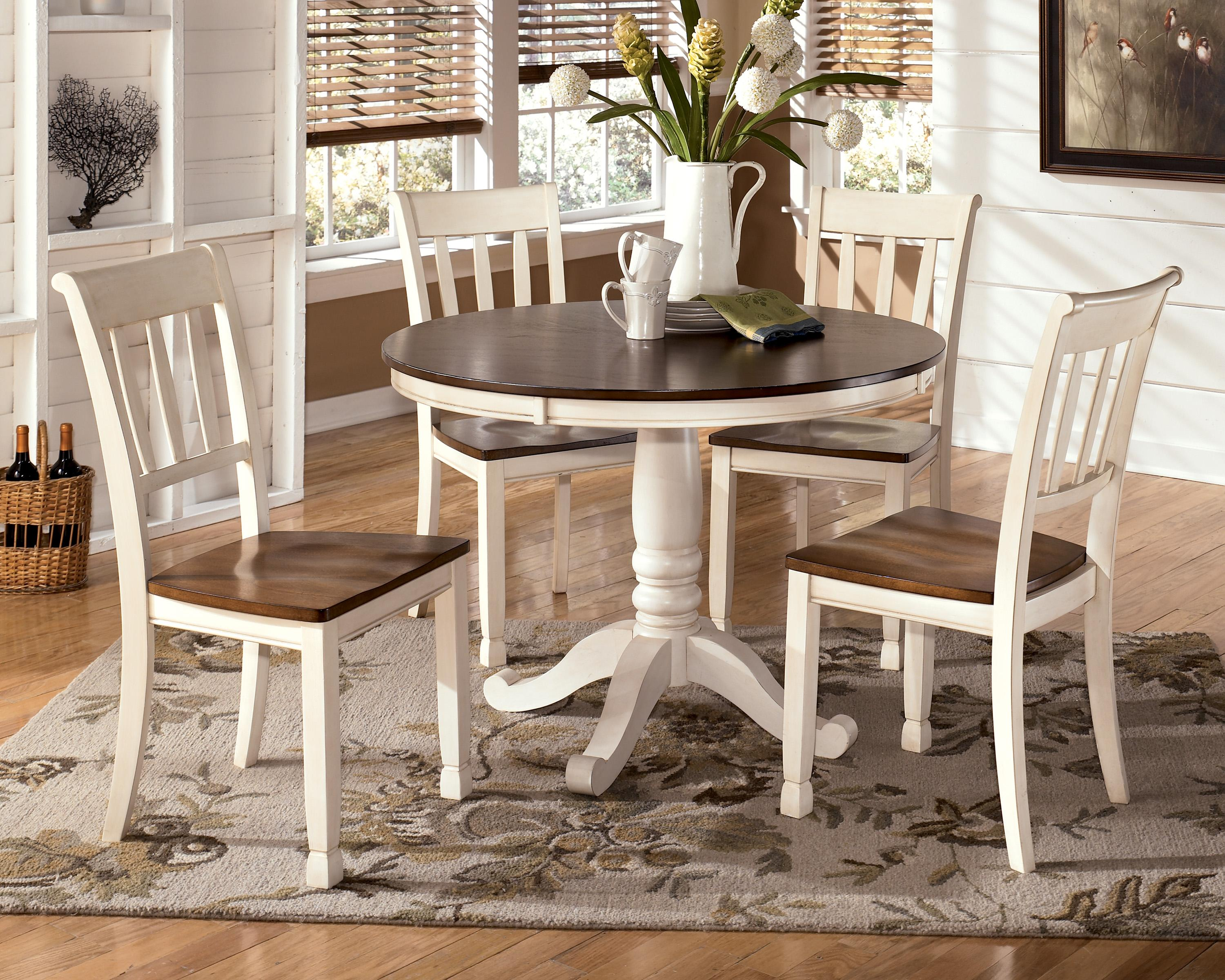 Signature Design by Ashley Whitesburg 5-Piece Round Table Set - Item Number D583 & Signature Design by Ashley Whitesburg 5-Piece Two-Tone Cottage Round ...