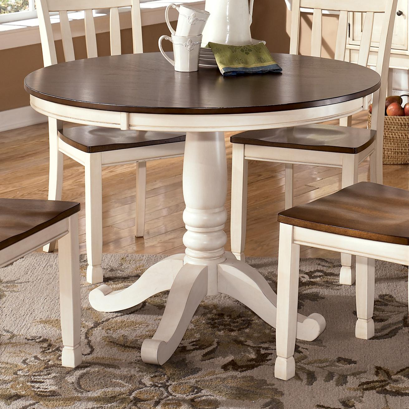 Round Kitchen Tables: Ashley Signature Design Whitesburg Two-Tone Round Table