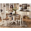 Signature Design by Ashley Whitesburg Two-Tone Round Table with Pedestal Base - Shown with 4 Slat Back Side Chairs and Server