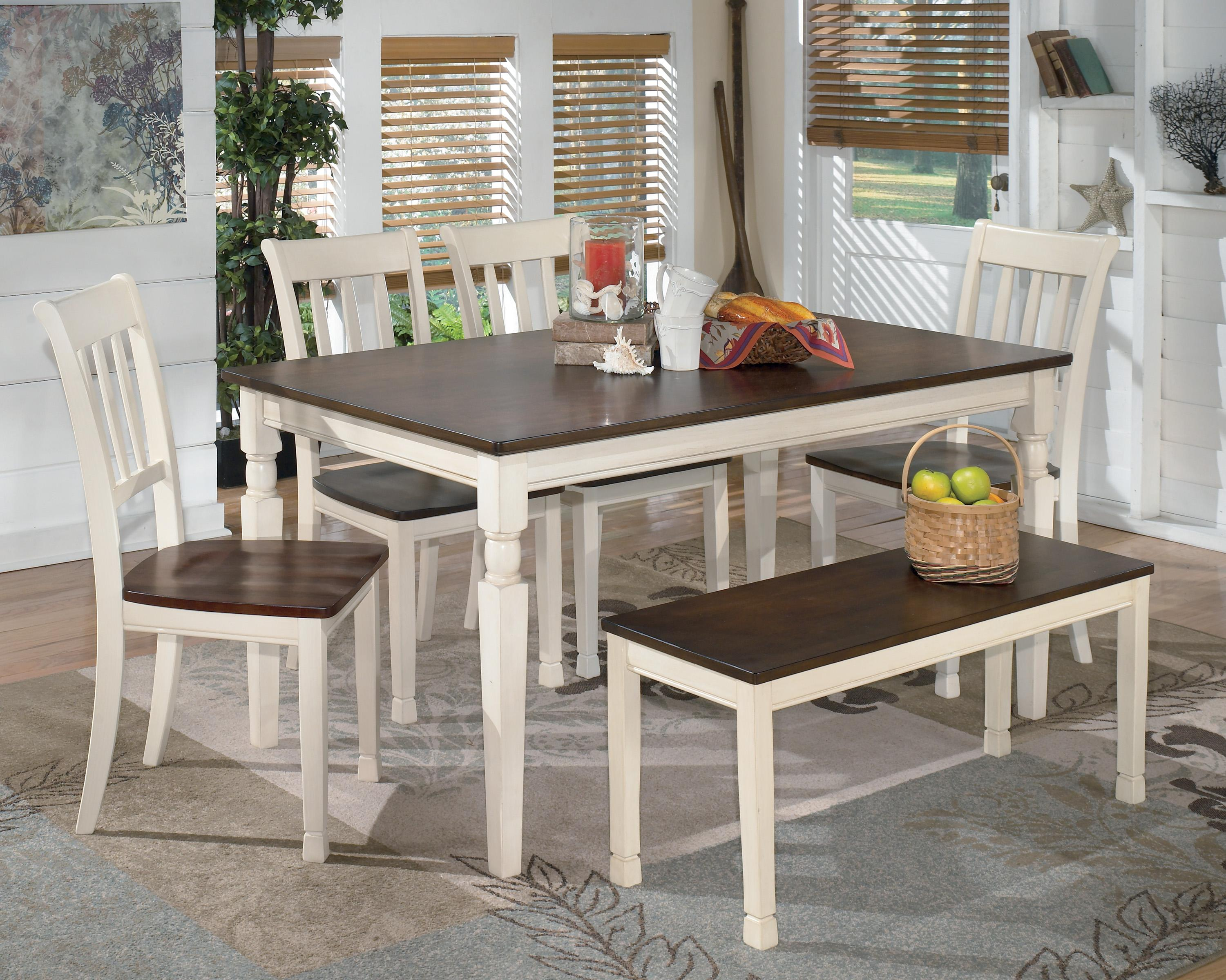 Charmant Signature Design By Ashley Whitesburg 6 Piece Rectangular Table Set With  Bench   Item Number
