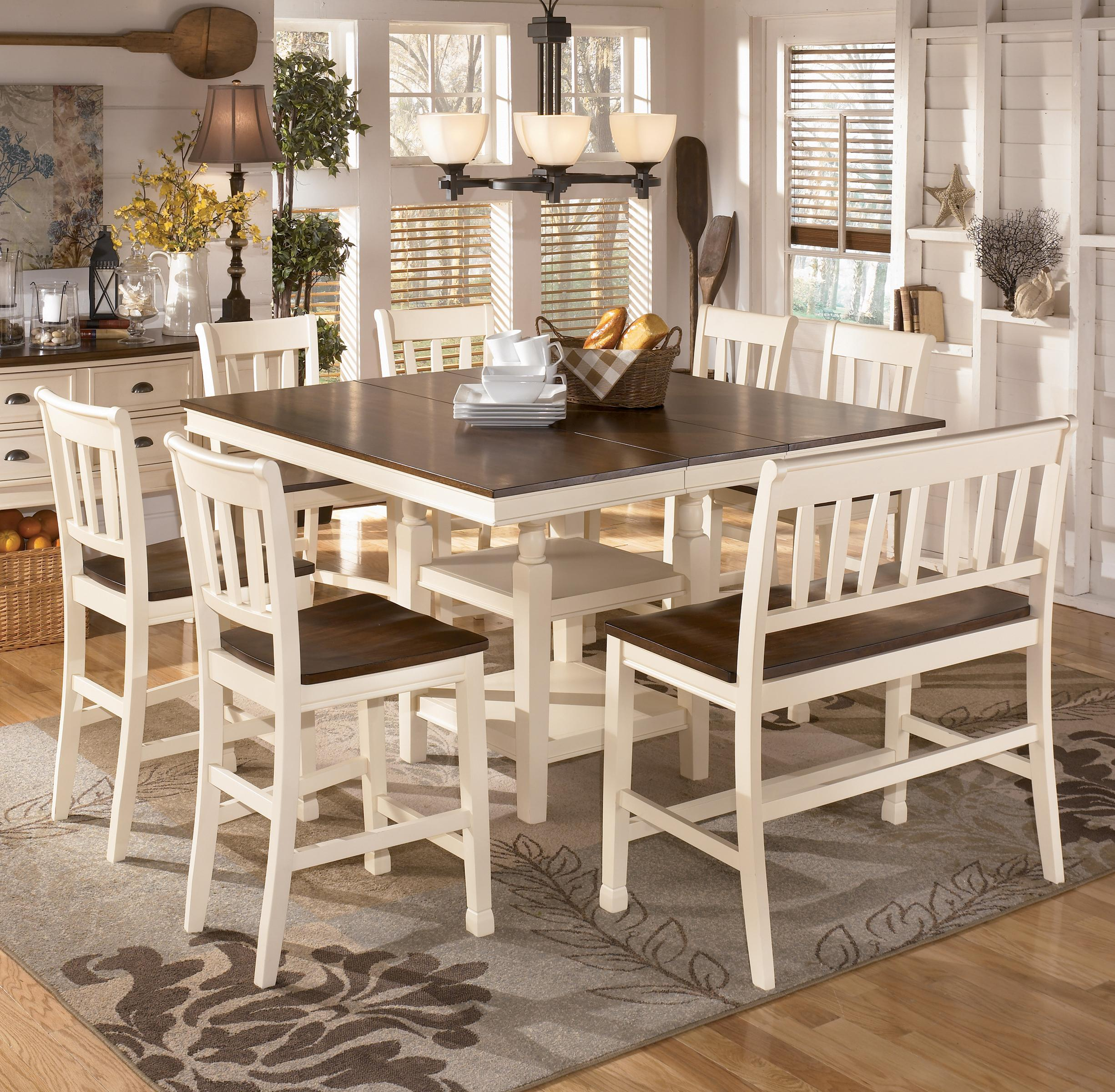 Signature Design By Ashley Whitesburg 8 Piece Square Counter Extension Table Set With Double Barstool