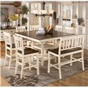 Signature Design by Ashley Whitesburg 8-Piece Square Counter Extension Table Set - Item Number: D583-32+6x224+323