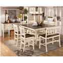 Signature Design by Ashley Whitesburg 8-Piece Square Counter Extension Table Set with Double Barstool - Shown with Server