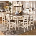 Signature Design by Ashley Whitesburg 9-Piece Square Counter Extension Table Set - Item Number: D583-32+8x224