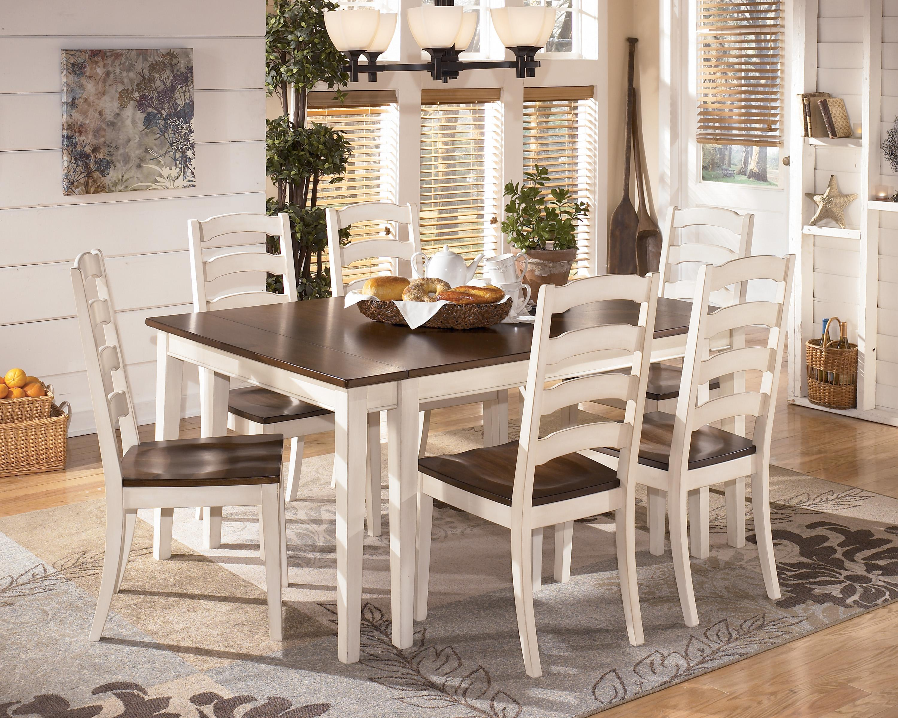 Signature Design By Ashley Whitesburg 7 Piece Two Tone Cottage Rectangular  Extension Table Set   AHFA   Dining 7 (or More) Piece Set Dealer Locator