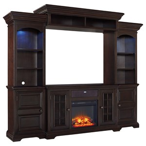 Signature Design by Ashley Willenburg 4-Piece Entertainment Center w/ Fireplace
