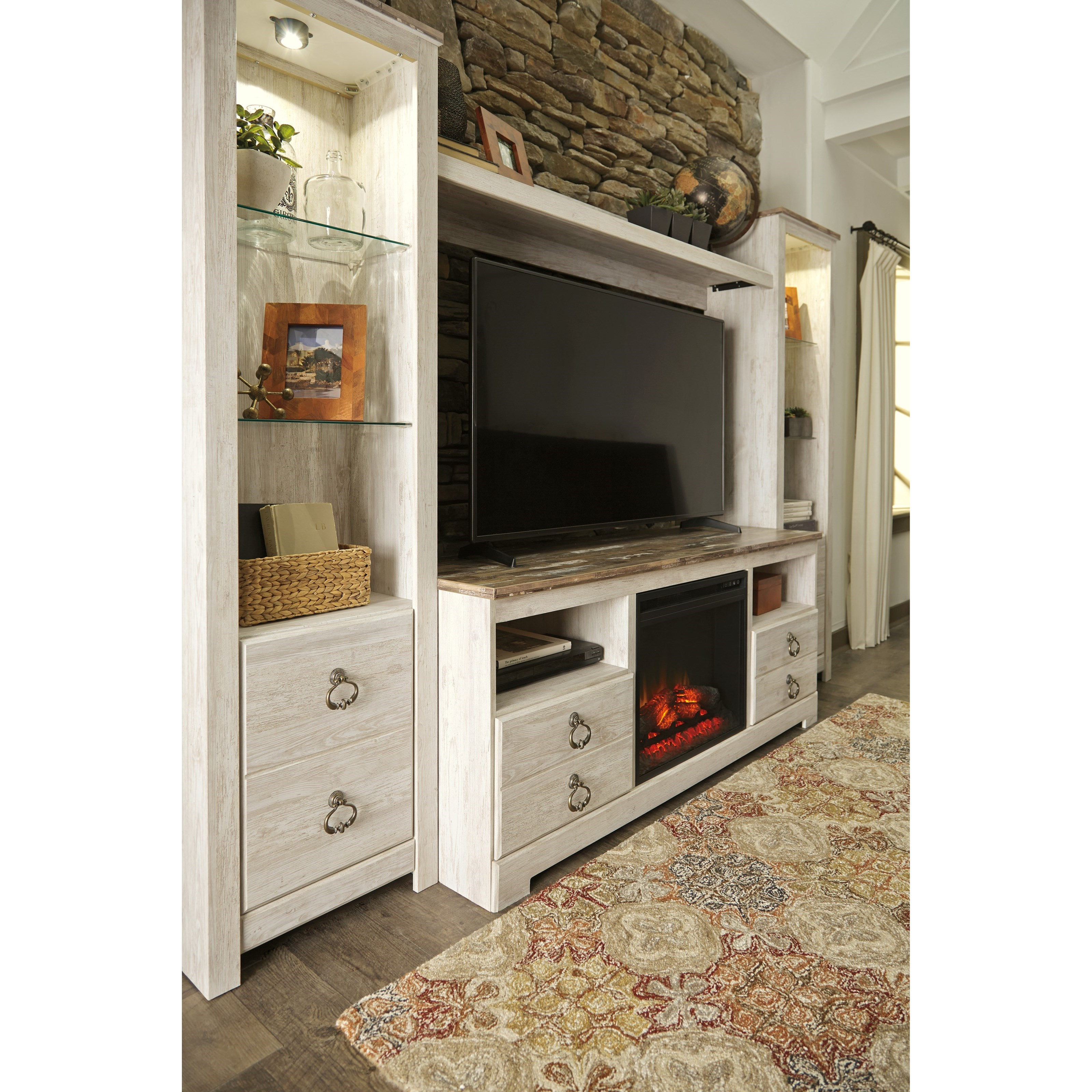 Signature Design By Ashley Willowton Entertainment Center With Fireplace Insert Del Sol