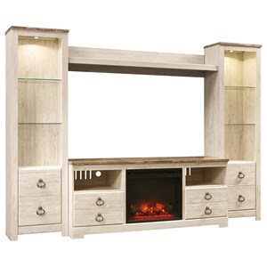 Signature Design by Ashley Willowton Entertainment Center with Fireplace Insert