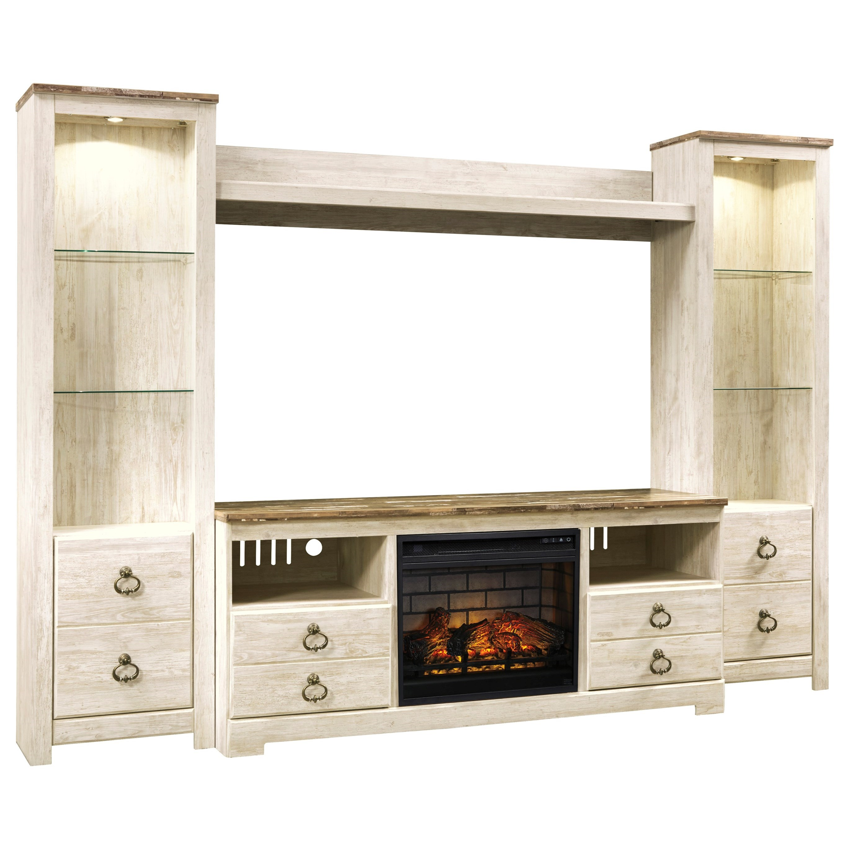 Willowton Entertainment Center with Fireplace Insert by Signature Design by Ashley at Northeast Factory Direct