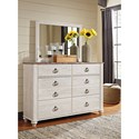 Signature Design by Ashley Willowton 6 Drawer Dresser with Rustic Look Top & Mirror
