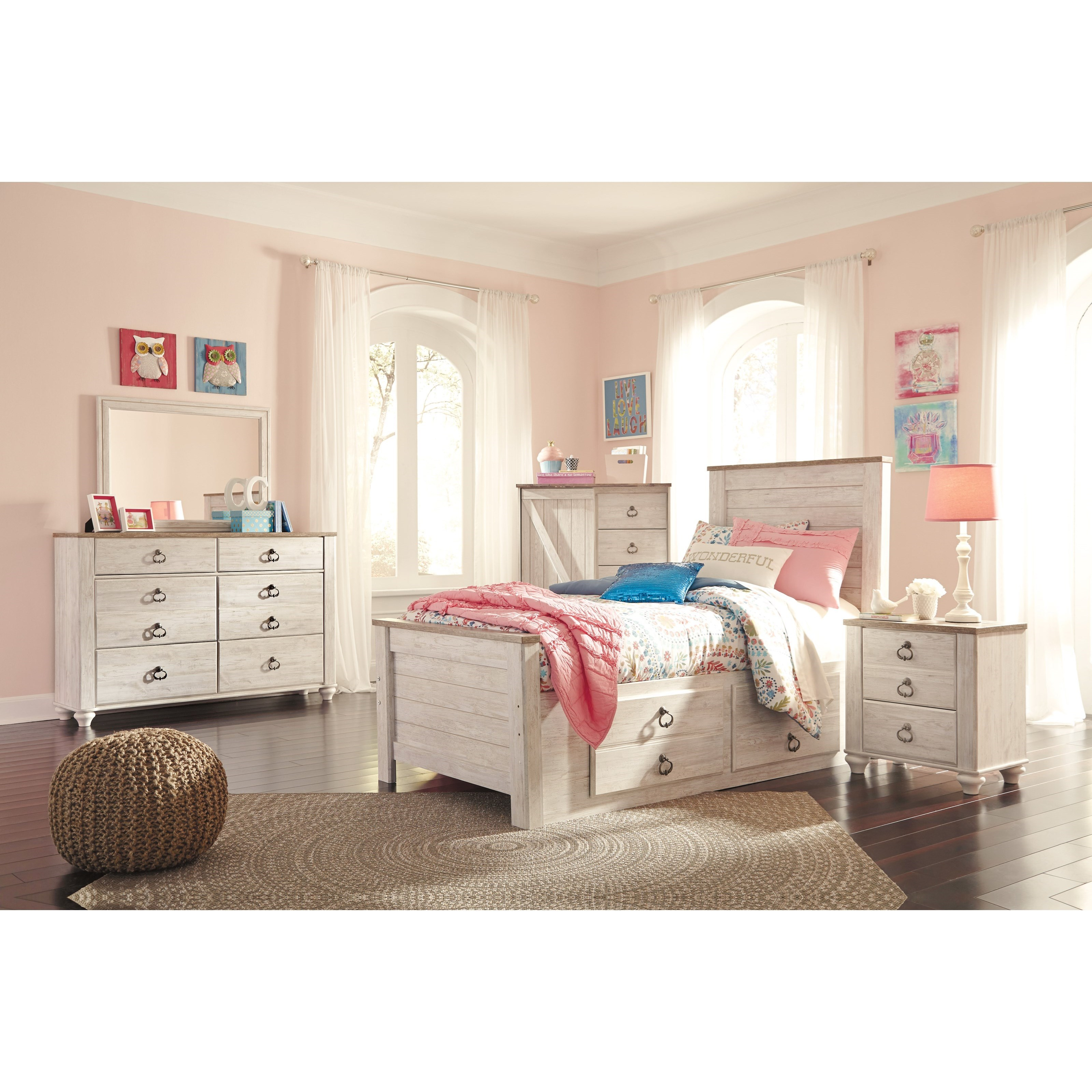 Signature design by ashley willowton twin bed with - Bedroom sets with drawers under bed ...
