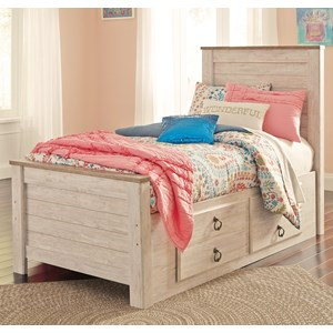 Signature Design by Ashley Willowton Twin Bed with Underbed Storage Drawers