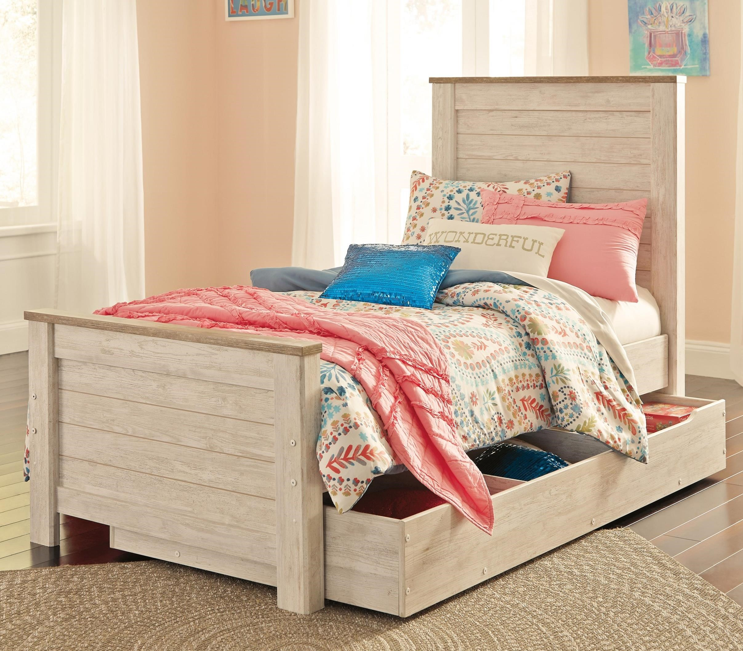Signature design by ashley willowton two tone twin panel - Bed with storage underneath ...