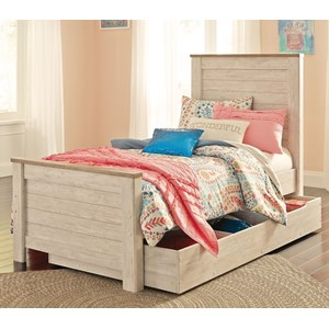 Signature Design by Ashley Willowton Twin Panel Bed with Under Bed Storage