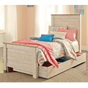 Signature Design by Ashley Joanna Twin Panel Bed with Under Bed Storage - Item Number: B267-53+52+83+60+B100-11