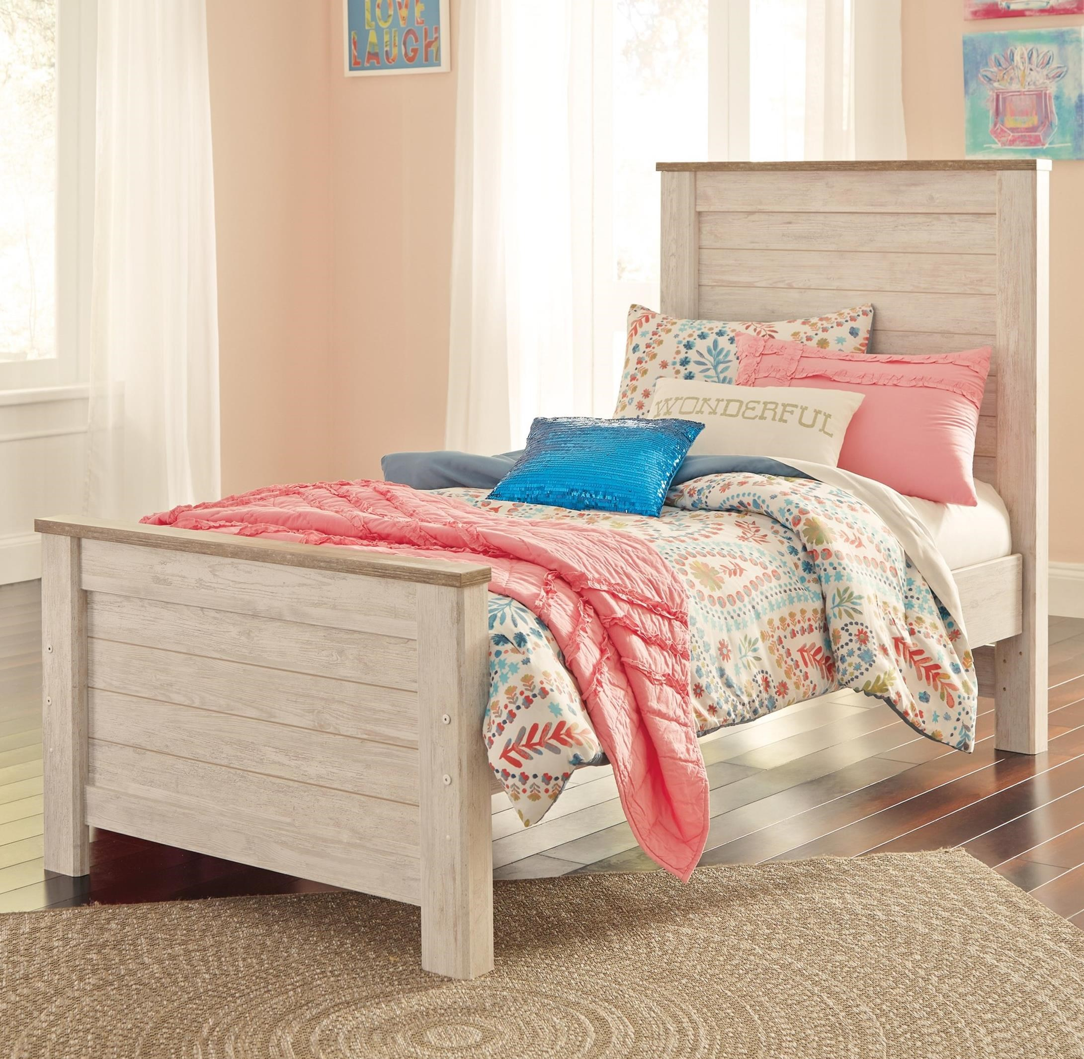 Ashley (Signature Design) Willowton Twin Panel Bed - Item Number: B267-53+52+83