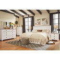 Signature Design by Ashley Willowton Queen/Full Panel Headboard in Washed White Finish with Rustic Top Trim