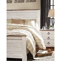 Signature Design by Ashley Willowton Two-Tone King Panel Bed in Washed White Finish with Rustic Top Trim