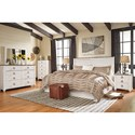 Signature Design by Ashley Willowton King/Cal King Panel Headboard in Washed White Finish with Rustic Top Trim