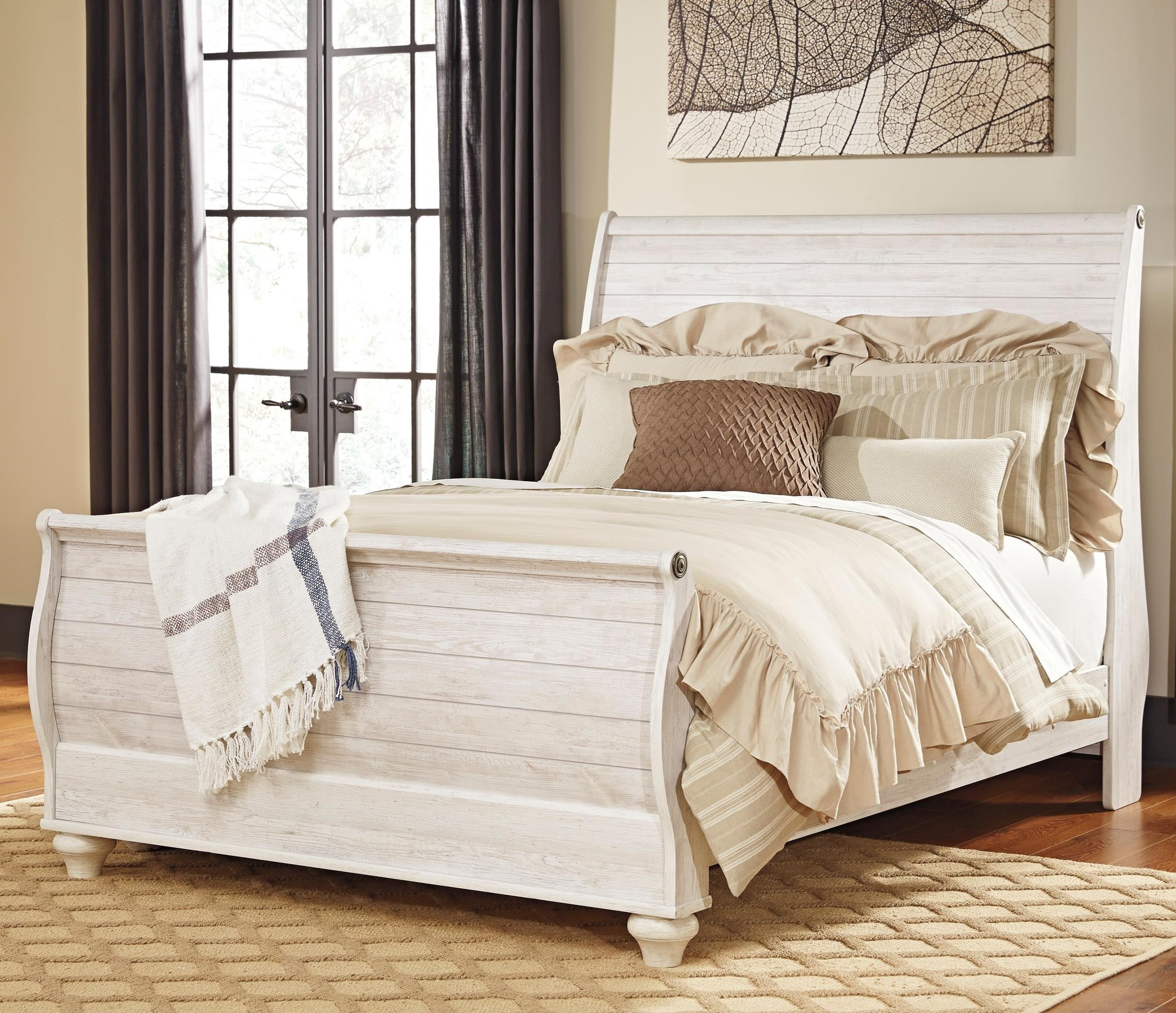 - Ashley Furniture Signature Design Willowton Queen Sleigh Bed In