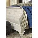 Signature Design by Ashley Willowton Queen Sleigh Bed in Washed White Finish